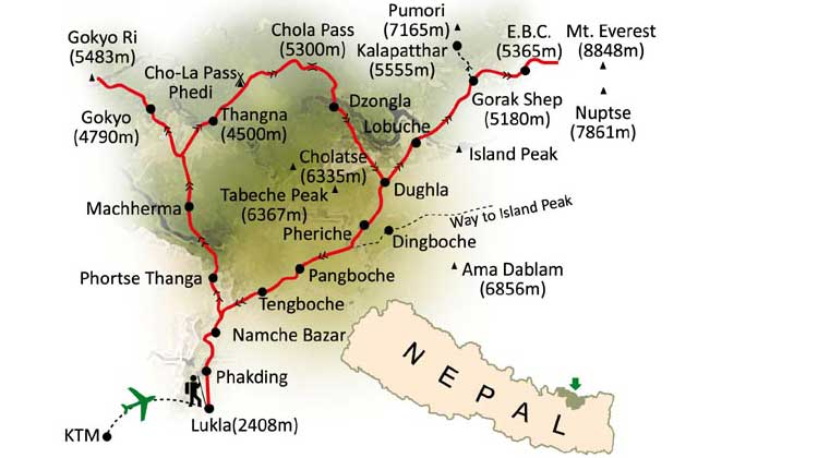 Everest Base camp Trekking Route & Map